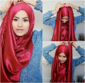 Hijab Pashmina Satin Acara Pesta Simple