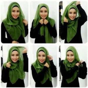 Hijab Kerja Segi Empat Simple Menutup Dada