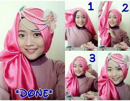 40 Tutorial Hijab Pashmina Satin Simple Kreasi Terbaru