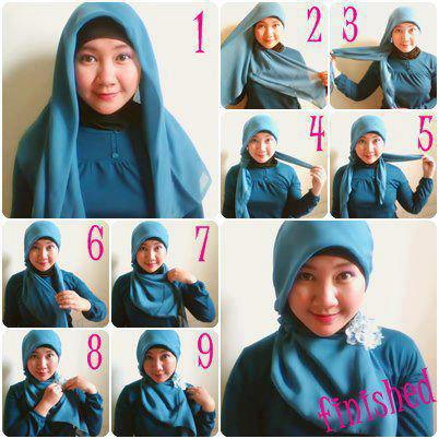 13 Tutorial Hijab Untuk Wajah Bulat Modern dan Simple