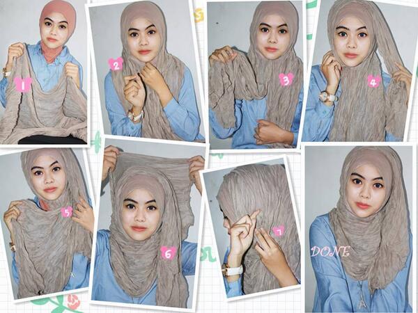 8 Tutorial Hijab Pashmina Kusut Paling Bagus