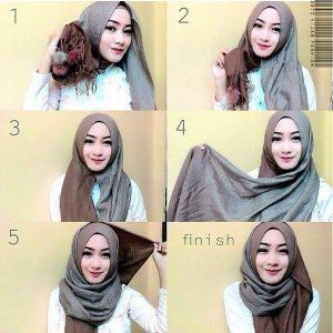 Hijab Pashmina Katun Dua Warna