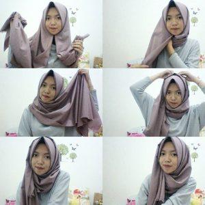 Tutorial Hijab Pashmina Katun Simple
