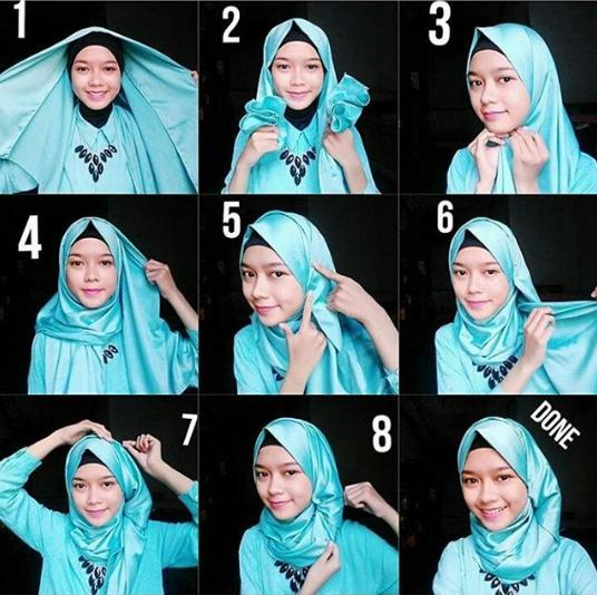 Tutorial Hijab Kerja Satin Hijabyuk Com