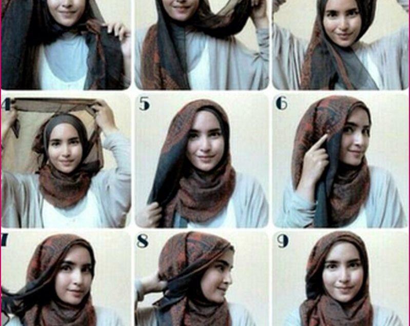 10 Tutorial Hijab Kerja Simple Paris-Pashmina dan Satin