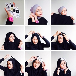 Hijab Pesta Pashmina Hitam Simple Elegan