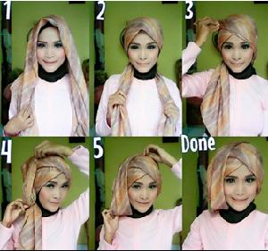 Hijab Pesta Segi Empat Turban Cantik