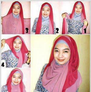 Hijab Pashmina Dua Warna Elegan