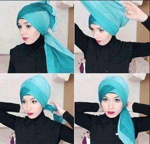 Hijab Paris Turban Dua Warna Simple Anggun