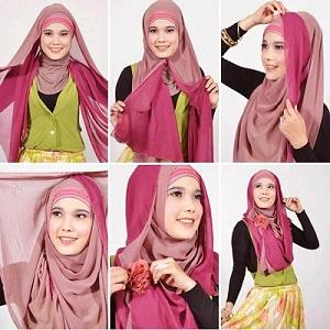 Hijab Pashmina Dua Warna Anggun