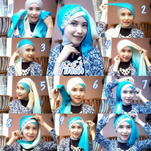 Hijab Dua Warna Pesta Simple Glamour