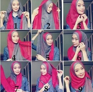 Hijab Dua Warna Simple Kekinian