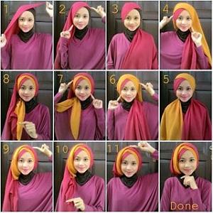 Hijab Dua Warna Simple dan Mudah untuk Pesta