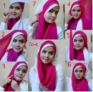 Hijab Segi Empat Dua Warna Menutup Dada