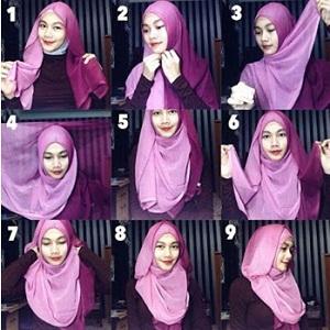 Hijab Segi Empat Dua Warna Mudah dan Simple