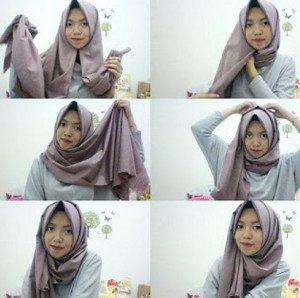 tutorial hijab bahan katun 11