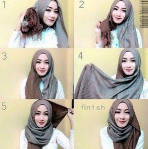 tutorial hijab bahan katun 10
