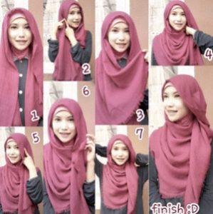 tutorial hijab bahan katun 8