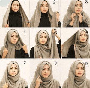 tutorial hijab bahan katun 7