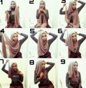 tutorial hijab bahan katun 6