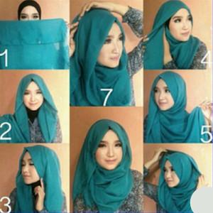 tutorial hijab bahan katun 5
