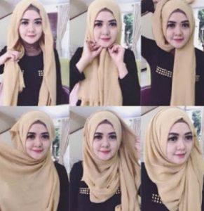 tutorial hijab bahan katun 3