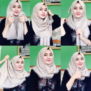 tutorial hijab bahan katun 2
