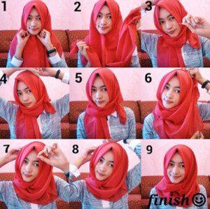 tutorial hijab bahan katun 1