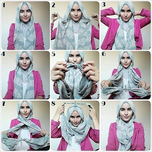 Hijab Pashmina Motif Simple Casual