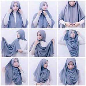 Hijab Pashmina Kaos Cantik Menutup Dada
