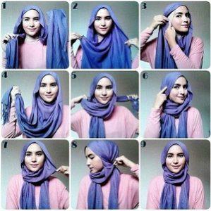 Hijab Pashmina Kaos Simple untuk Wajah Oval