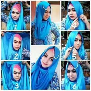 Hijab Pashmina Satin Glamour Menutup Dada