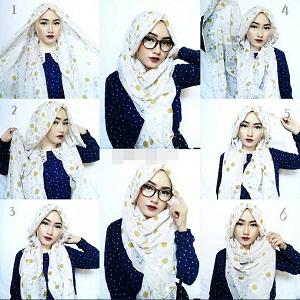 Hijab Pashmina Motif Berkacamata