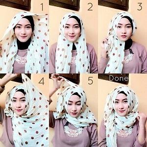 Hijab Pashmina Motif Polkadot Simple Kekinian