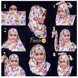 Hijab Pashmina Motif Bunga Simple Elegan