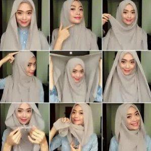 Tutorial hijab syar'i segi empat 10