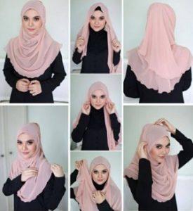Tutorial hijab syar'i segi empat 9
