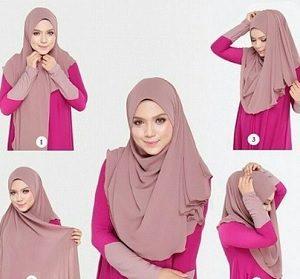 Tutorial hijab syar'i segi empat 8
