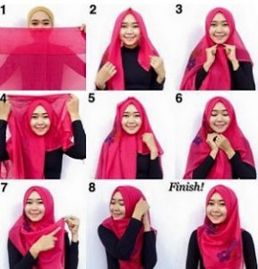 Tutorial hijab syar'i segi empat 6