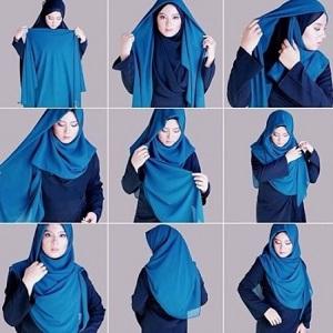 Tutorial hijab syar'i segi empat 5