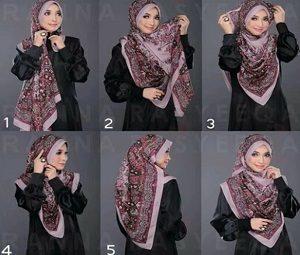 Tutorial hijab syar'i segi empat 3