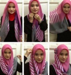 Tutorial hijab syar'i segi empat 2