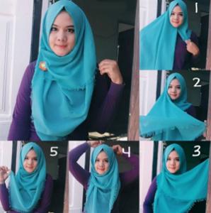 Hijab Pashmina Rawis Menutup Dada Modern