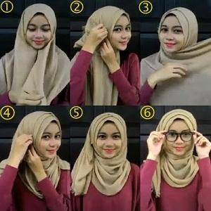Hijab Pashmina Rawis Berkacamata Simple