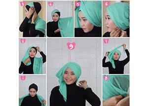 Segi Empat Gaya Turban Short Tail