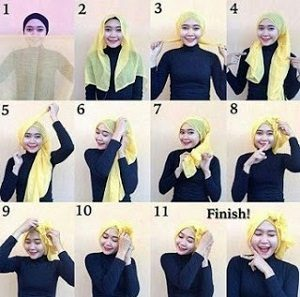 Hijab Paris Segi Empat Polos Turban Cantik
