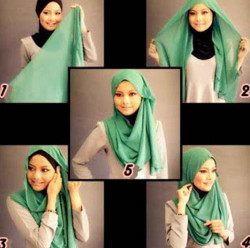 tutorial hijab simple segi empat 20