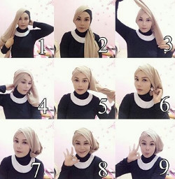 tutorial hijab simple segi empat 16