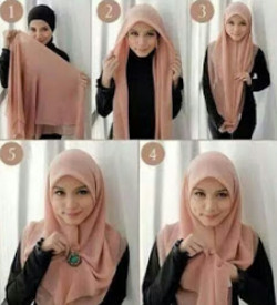 tutorial hijab simple segi empat 12