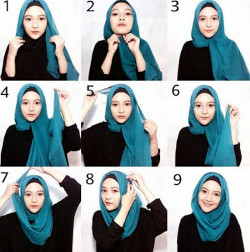tutorial hijab simple segi empat 9